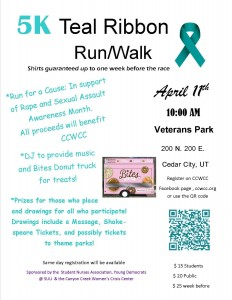 5k teal ribbon color run cedar city 2015