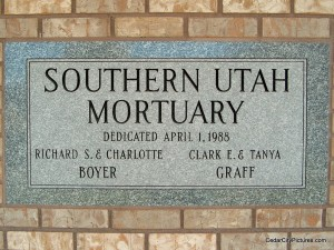 Southern Utah Mortuary Plaque