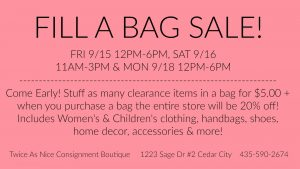 twice as nice consignment cedar city sale (Twice As Nice Consignment Boutique – Fill a Bag Sale!)