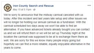 carnival iron county search rescue cancelled (Midway Carnival Cancelled)