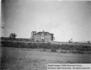 Distant_view_of_Old_Main_a_picture_of_the_first_building_on_the_school_campus