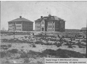 Old_Main_and_Old_Admin_Stereoscopic_views_Southern_Branch_of_the_State_Normal_School_Cedar_City_Utah